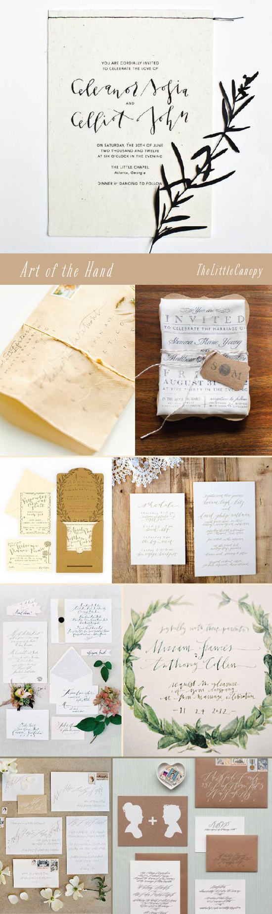 This week's board is a delicious collection of hand lettered wedding stationery! It was hard to keep it in a small number to fit on just one board... beautiful delicate ink lines that are each unique to a person's hand - amazing! Definitely a keeper for your wedding inspiration, pinners!