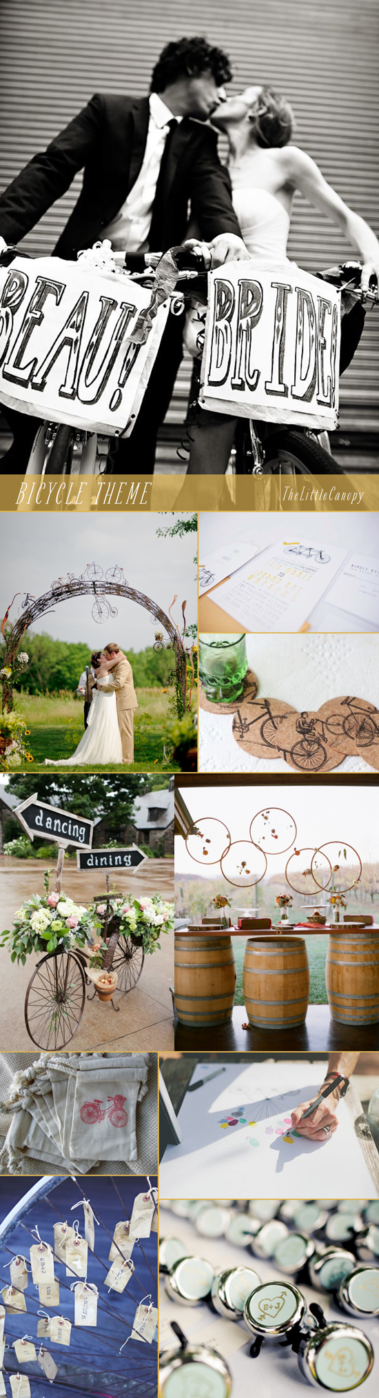 This week's inspiration board : bicycle theme! Cute ideas to incorporate the intricate designs of the bicycle to create a romantic and intimate wedding! Enjoy!
