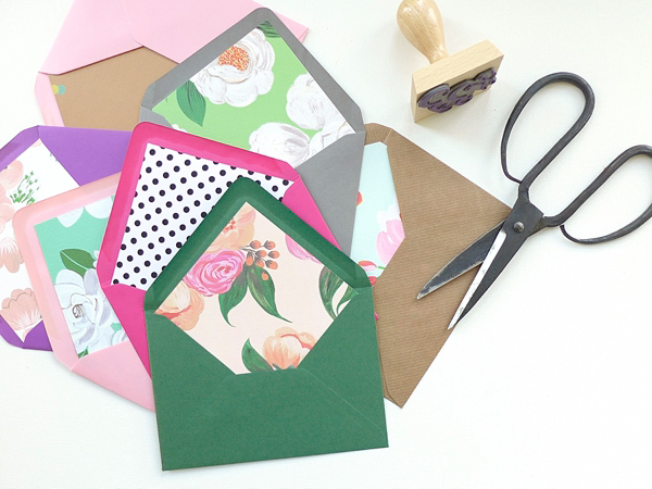 Just can't find the right envelopes or have a specific print you love? Solution! Make your own envelope liners! This incredibly easy diy project will be one that will come in handy over and over again! Gather your gals and have a fun wine + envelope liner party!