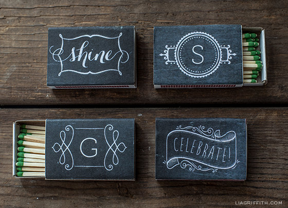 Our favorite this week is this simple and clean printable design for matchboxes! Wouldn't they make great favors for your guests? How cute!