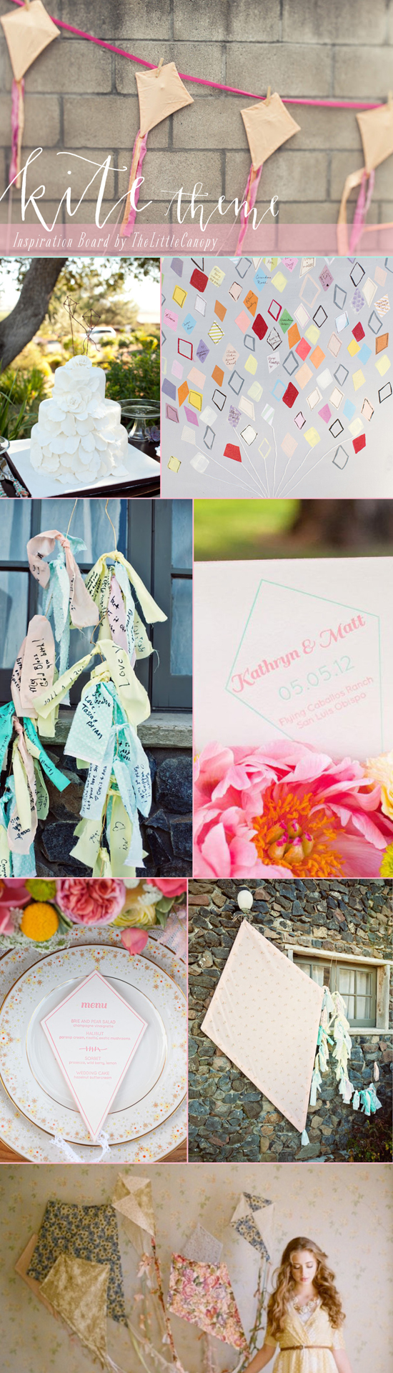 It hit me today out of nowhere. Flying... kites! So many great ways to play with this theme! I am in love with the fabric kites with long and rough edged tassels! Perfect for an outdoor Spring wedding/bridal shower! Enjoy!