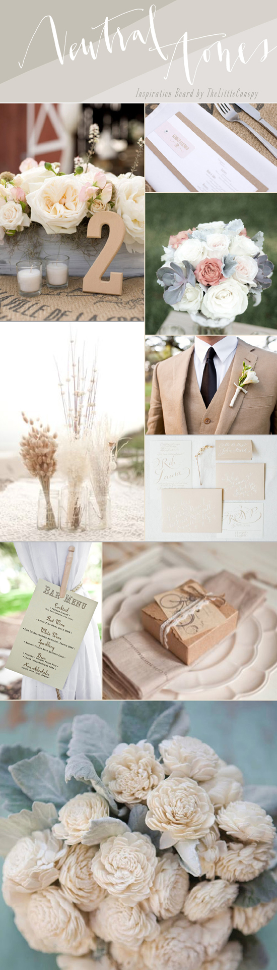 Looking for a natural theme that isn't just all one nude color? Don't be afraid to mix it up with some neutral tones! Including some white, ivory, nude and grey tones will help create an aura of natural beauty and romance. If you want to add a pop color, try something bold like persimmon or emerald! Enjoy!