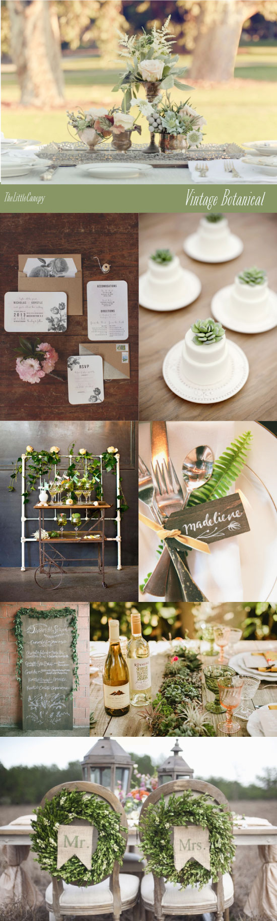 Vintage Botanical Garden Wedding Theme Board