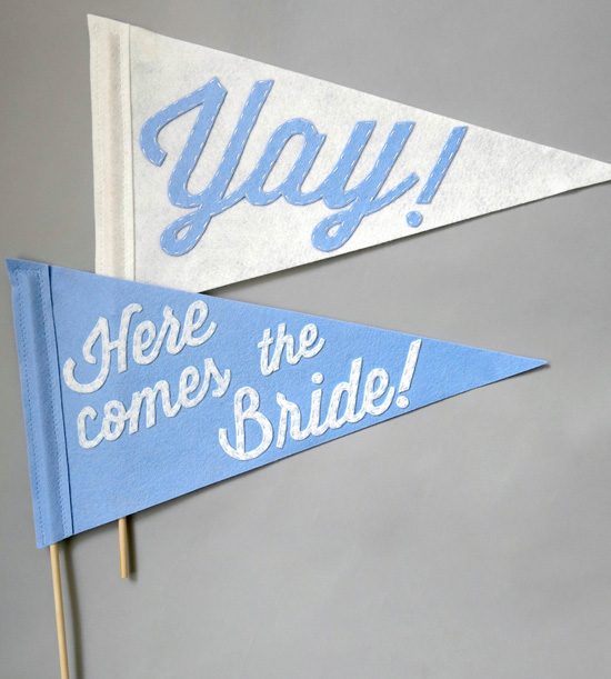 These cute felt pennant flags are hand-cut and hand-stitched and ready to be waved with glee down the aisle by the flower girl and ring bearer for the new couple! The stitch detail is absolutely beautiful. These would also be great for photos on your special day!