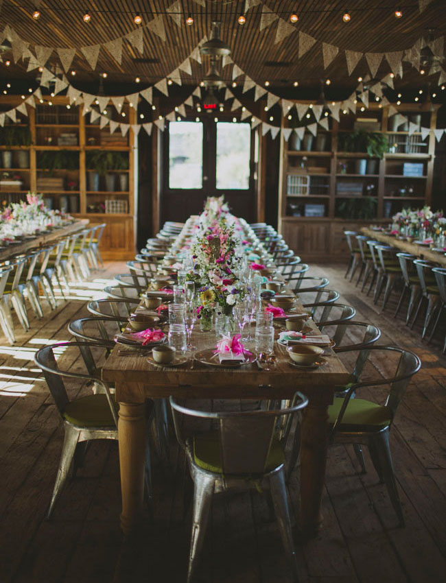 How pretty are the gold pennant flag garlands? Inspiration for your dining halls and reception areas!