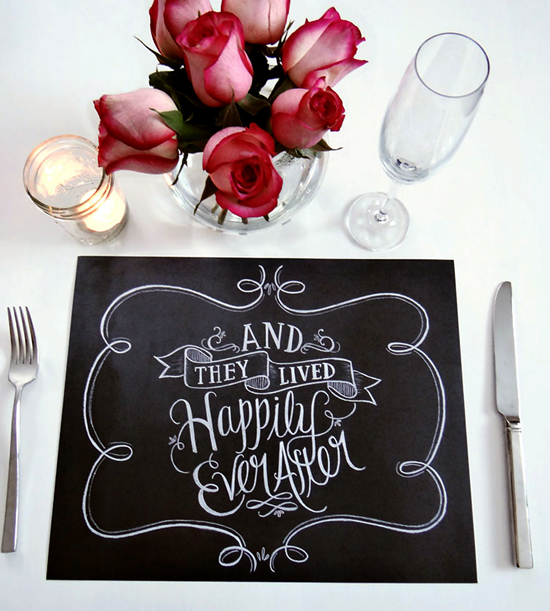 How cute! Our favorite this week is this chalkboard art placemat! The maker of this fine piece actually hand letters using chalk, which is then scanned and printed to translate the look and texture of real chalk! Inspired!