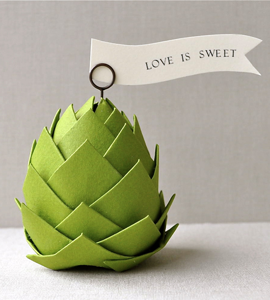 Our favorite this week is this adorable paper artichoke place setting! Loving the simplicity of the form + color! These would be great for the guests to take home with them as favors, too.  Paper Artichoke Place Settings by Imeon Design