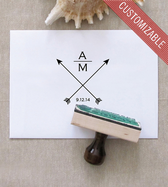 In love with this simple save-the-date stamp! Such a cute design that can be customized with your initials! So clean...