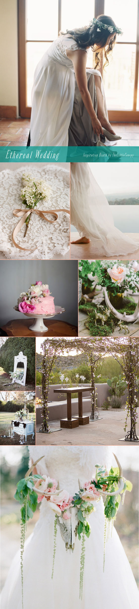 Here's an inspiration board to make you swoon. Ethereal wedding inspiration! Loving these whimsical and romantic elements + details. Enjoy!