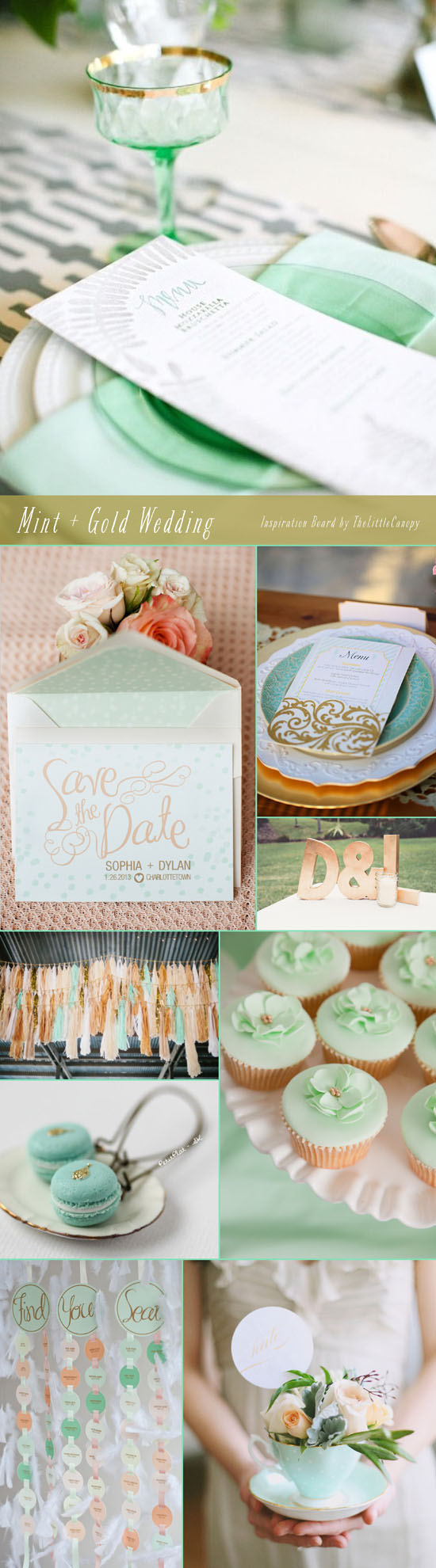 How refreshing are these colors? So many ways to play with mint and gold to create a dream wedding! Love the big gold block letters! Enjoy!