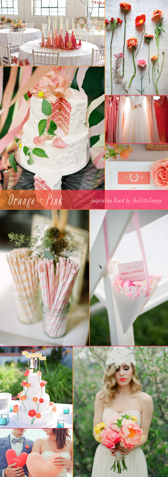 Let's get those vibrant color juices flowing! This week's inspiration board is all about the delicious orange and pinks! How great would it be to have a sunset theme wedding? Or a Malibu theme bridal shower? Oh, the possibilities... Enjoy!
