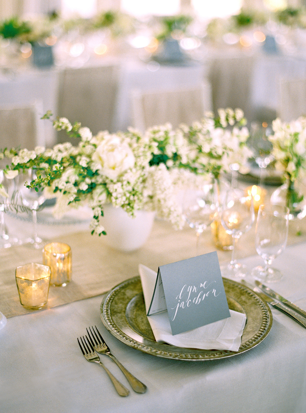 Loving the clean use of white and gold... the hand lettered name card is a nice romantic touch! Swoon!