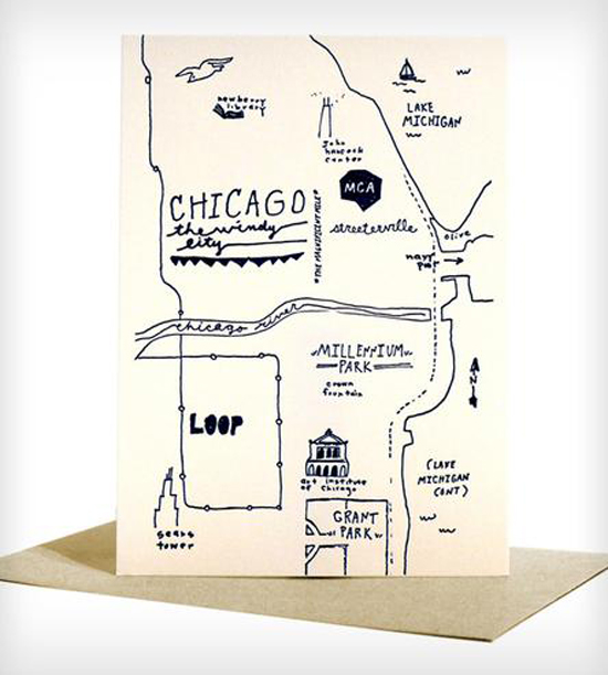 How cute is this illustrated map greeting card? This kind of illustration would be so cute to serve as a map/info card for your wedding invitation suite! Know someone who can draw? You would just need one drawing that you can then scan in and print! Good idea, right?  Image : Chicago Greeting Cards by Colpa Press