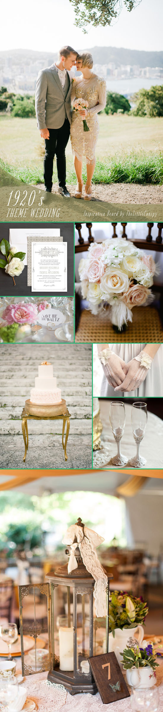 Inspiration Board: 1920's Wedding Theme // For those who are lucky with attics and closets full of vintage goodies, here's an inspiration board that will take you back to the 1920's! With lace, feathers, and gold everywhere, this board is sure to give you some ideas for a spectacular 1920's theme wedding! Enjoy!