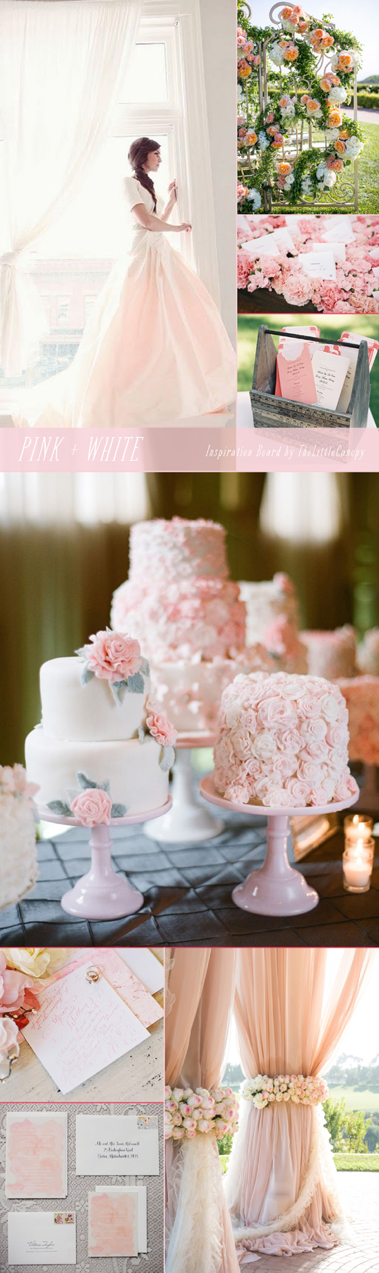 What girl doesn't like a little pink? Here's a pink + white inspiration board that is sure to make people swoon. Enjoy!