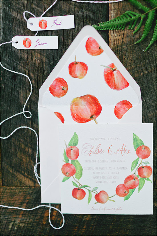 Fresh, bright, and sweet - this watercolor apple pattern is just too cute! Don't be afraid to explore with pushing the design for your invitations, whether it be wedding invitations, bridal shower invitations, or engagement party invitations!