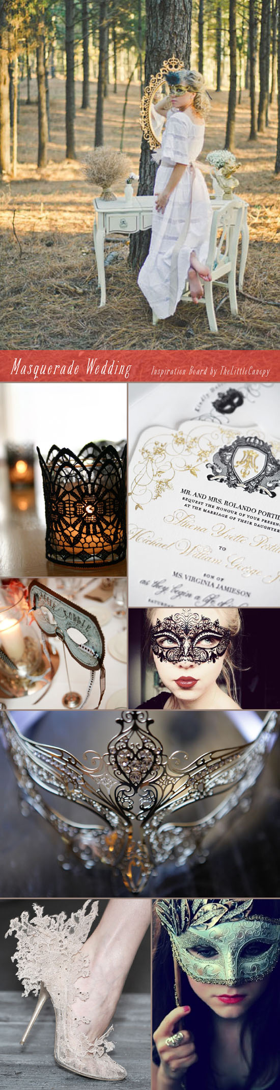 Inspiration Board: Masquerade Wedding // Ooh. Looking for a spicy and mysterious theme for your non-typical wedding? Fall in love with the beautiful details and textures of a masquerade wedding theme! Layers of lace and intricate patterns - so romantic! Enjoy!