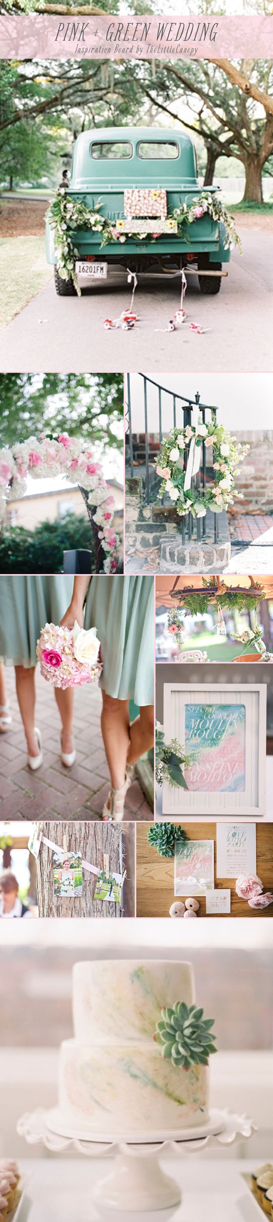 Pink and green artsy whimsical wedding inspiration board