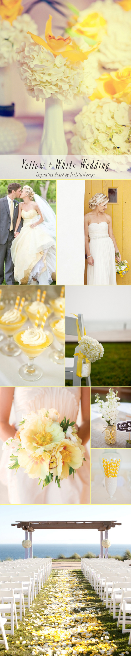 Inspiration Board: Yellow + White Wedding // Perfect for summer and fall weddings, yellow creates a vibrant atmosphere. Since it's such a strong and dominant color, using white to balance it helps to create a fantastic and happy mood. Enjoy!