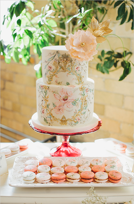 Inspiration: Hand Painted Floral Cake // What a beauty. This secret garden themed cake is truly a beautiful work of art! Loving the matching cute macarons... inspired!