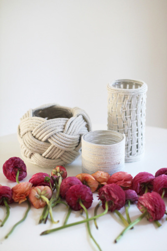 DIY Rope Vases // What a perfect diy project to do with your gal! These hand woven rope vases would be stunning as centerpieces and decor for your wedding or any special event! This awesome tutorial shows you three unique ways to weave the rope to create rope art! Enjoy!