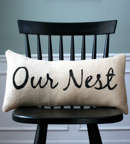 "Favorites: Our Nest Pillow Cover // Need a gift idea? Our favorite this week is this cute handmade pillow cover! Sometimes, we forget that the wedding (as gorgeous as it is) is just one day. The real adventure begins after that! Creating a home together is a whole different world - and what better way to celebrate it than to design your new home together?! Loving this beautiful ""Our Nest"" lettering + design. Enjoy!"