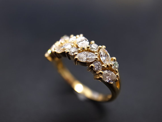 Favorite: Marquise Diamond Wedding Ring // Really loving the garland-like setting on this beautiful yellow gold marquise diamond wedding ring! If you're looking for something outside the 'ring box' peek around this! Favorite indeed.