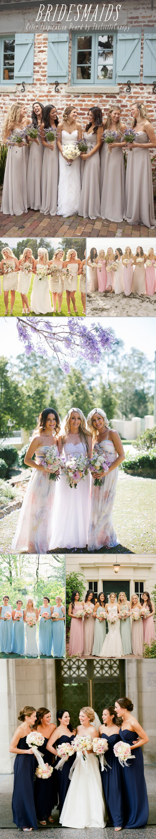 Inspiration Board: Bridesmaid Colors // Here's a board with a couple romantic color themes for a detail of your special day - your bridesmaids! They help frame you in photos and set the tone along with the flowers at your wedding. Enjoy!