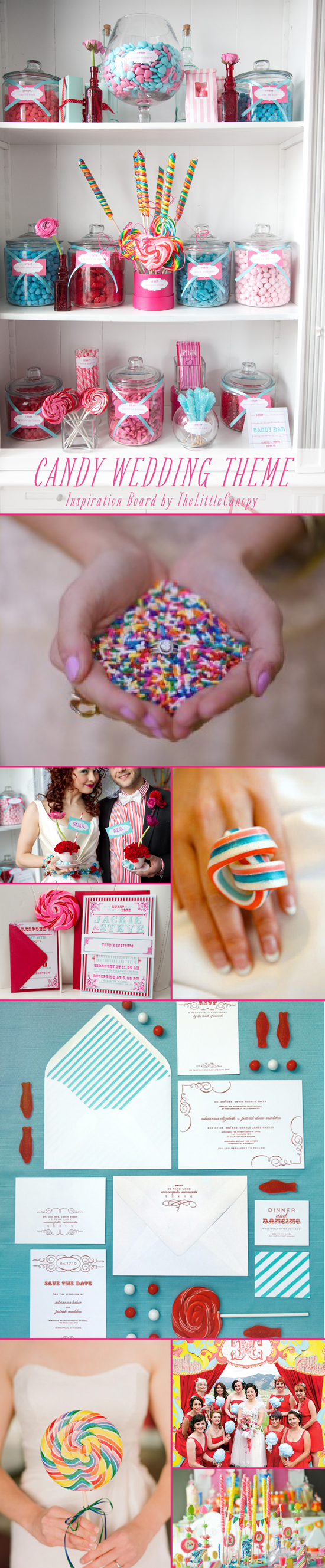 Inspiration Board: Candy Wedding Theme // How fun! If you've got a sweet tooth, brace yourself! So many ideas for pretty candies and sweets to add some flavor and color to your special day! Loving the cotton candy bouquets! Enjoy!