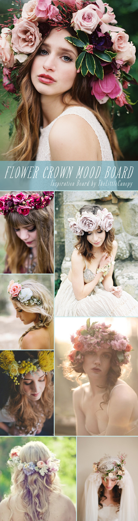 Inspiration Board: Flower Crown Mood Board // Why haven't we done this yet? This week's inspiration board is a delicious mood board of flower crowns! Flowers are the icing on the cake, friends. And so, therefore, the bigger the flower crown, the happier you'll be - nailed it. Enjoy!