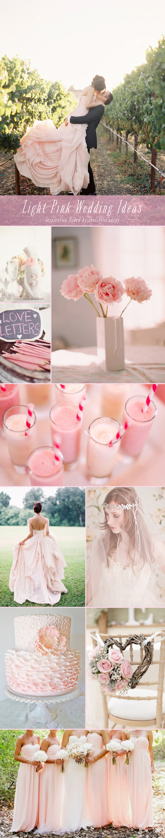 Inspiration Board: Light Pink Wedding Ideas // You can make a big impact with a subtle color! This week's board encourages wedding ideas using light and pale pink tones. Enjoy!
