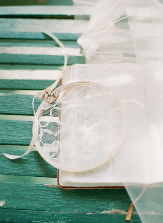 Favorites: Handmade Ring Bearer Lace Pillow // How romantic is this beautiful and delicate handmade ring bearer lace pillow? What a sweet twist to the typical pillow! You could even tie the rings on through the lace! Pretty!